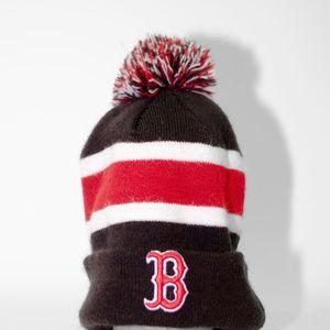 Boston Red Sox Navy, Red, & White Beanie W/Pom Pom